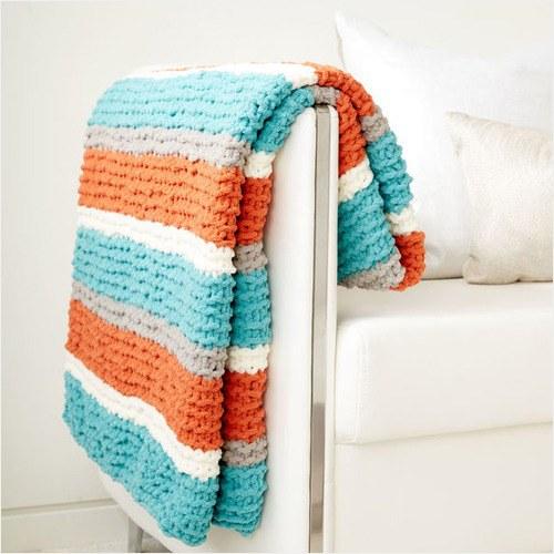 Free Knit Pattern - Get Fresh Knit Throw in Bernat Blanket yarn