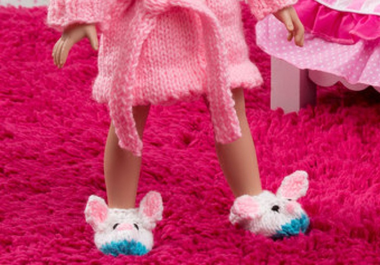 Intermediate Knit Doll Robe and Bunny Slippers