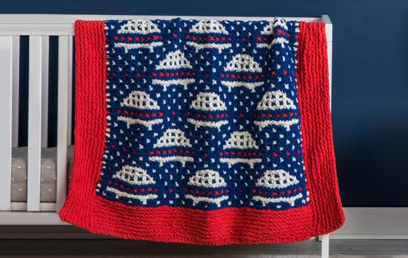 Bernat Knit Mosaic Simply Saucers Blanket