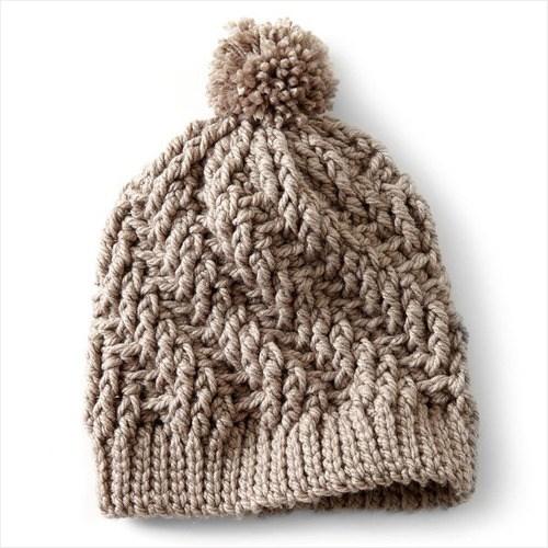 Free Crochet Pattern - Stepping Texture Hat in Bernat Softee Chunky yarn