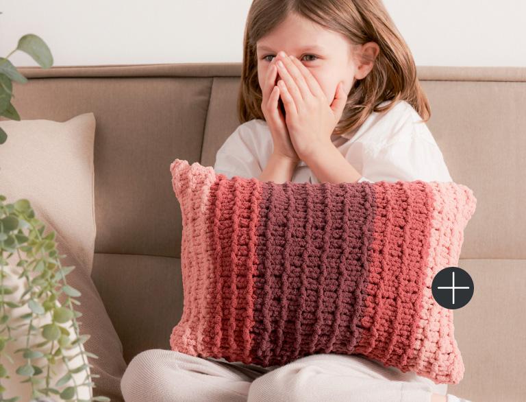 image of Bernat Fading Stripes Knit Lumbar Pillow Blanket