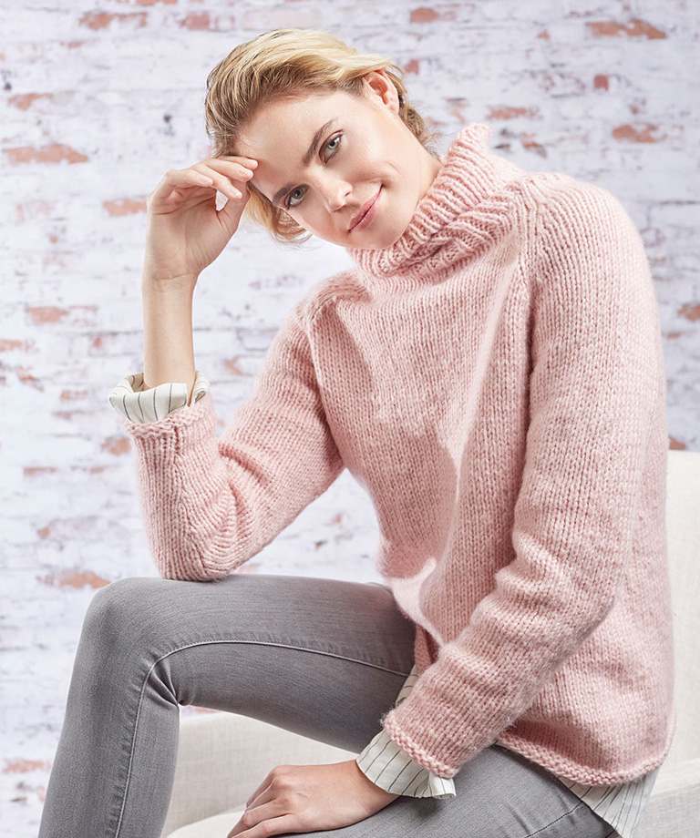 Roomy Relaxed Turtleneck Free Knit Pattern LW5874