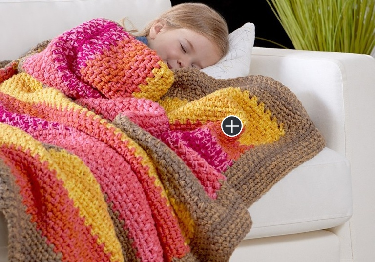 Easy Bright Stripes Reversiple Crochet Throw