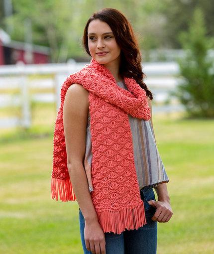 Wavy Drop-Stitch Scarf Free Knitting Pattern LW5281