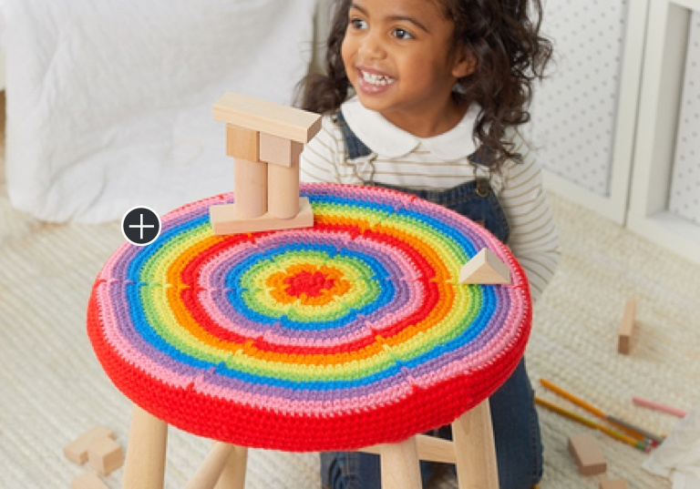 Easy Crochet Rainbow Burst Stool Cover