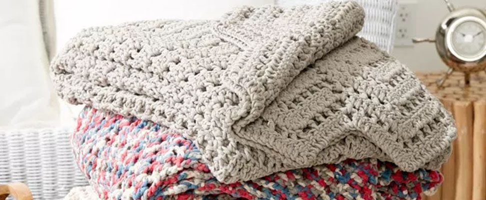 Ripples in the Sand Crochet Afghan in Bernat Maker Home Dec yarn