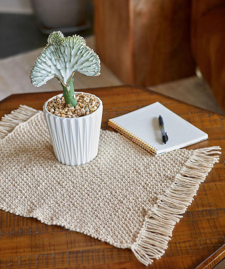 Fringed Plant Mat Free Knitting Pattern LW6346