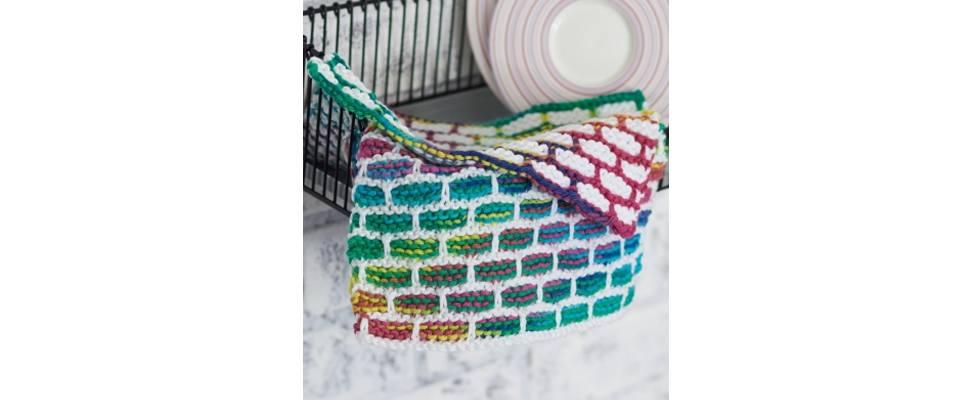 Brick Stitch Dishcloth crocheted in Lily Sugar'n Cream yarn