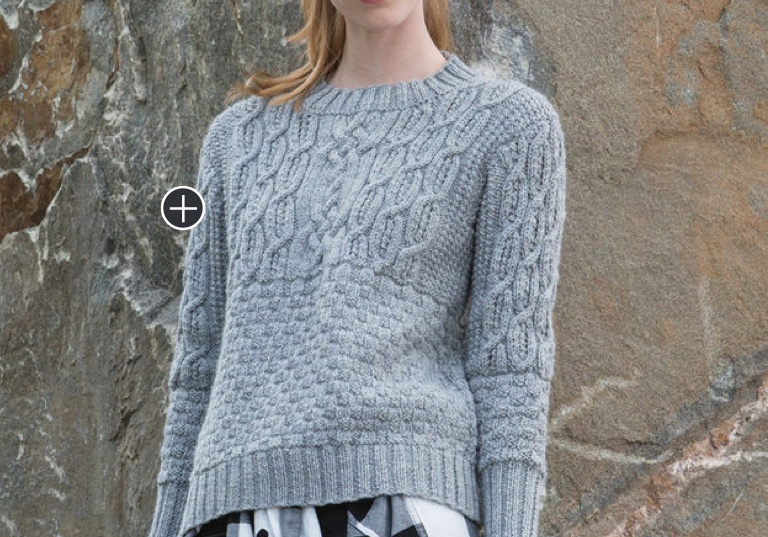 Intermediate Gayle's Boxy Cabled Crew Knit Pullover