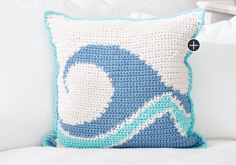 Intermediate Catch A Wave Crochet Pillow