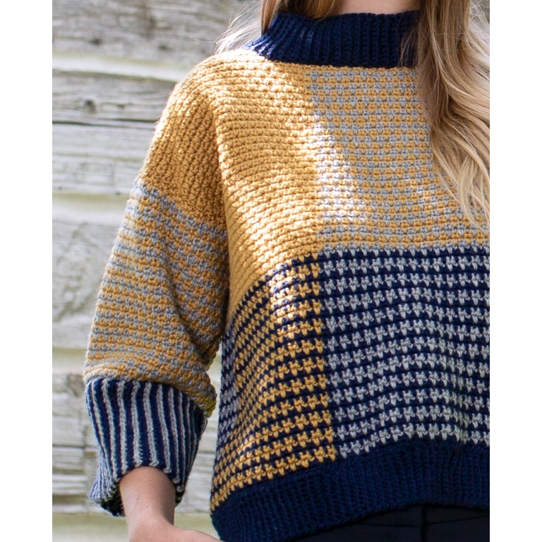 Intermediate Blocked & Cropped Crochet Pullover