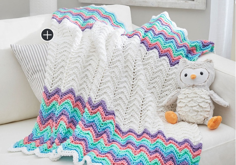 Easy Rippling Rickrack Rainbow Crochet Blanket