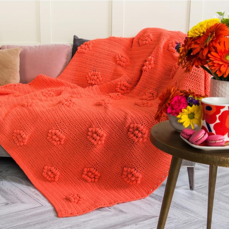 Caron popcorn blooms crochet blanket