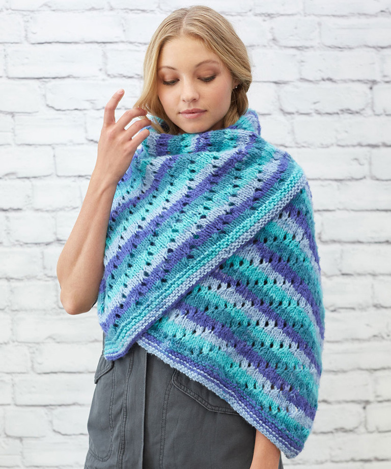 Pleasing Eyelet Shawl Free Knit Pattern LM5869