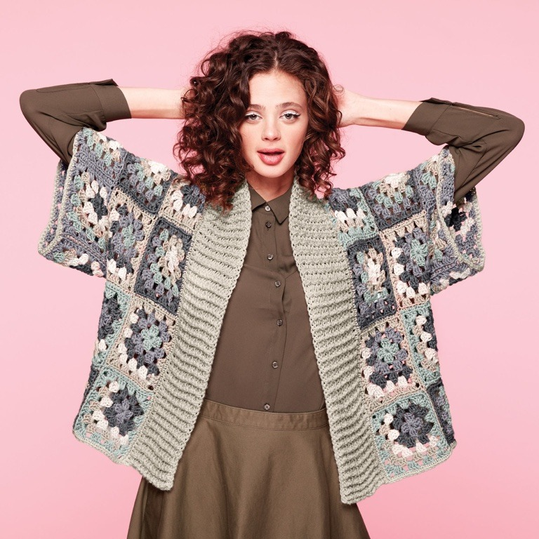 Caron x Pantone Bamboo Crochet Kimono Cardigan