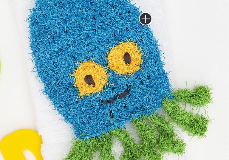 Easy Octopus Crochet Scrubby Mitt
