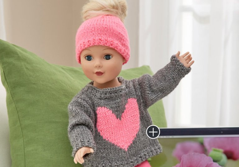 Easy Love My Doll Crochet Sweater & Messy Bun Hat