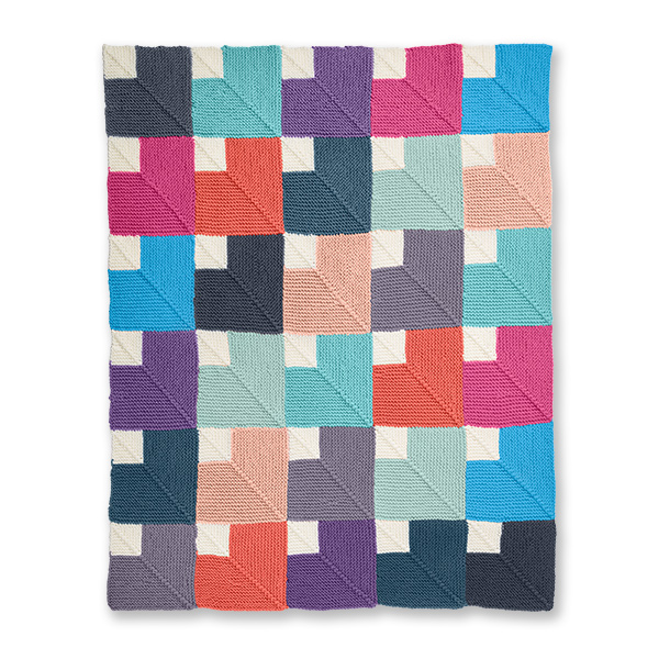 Color Chip Mitered Knit Blanket Free Pattern