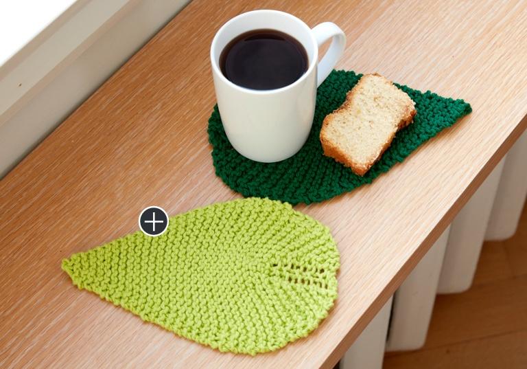 Easy Be-Leaf It Knit Mug Rug