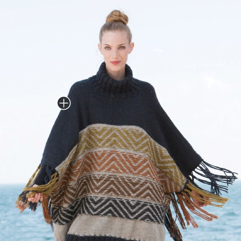 Intermediate Julia's Reverse Fair Isle Knit Poncho