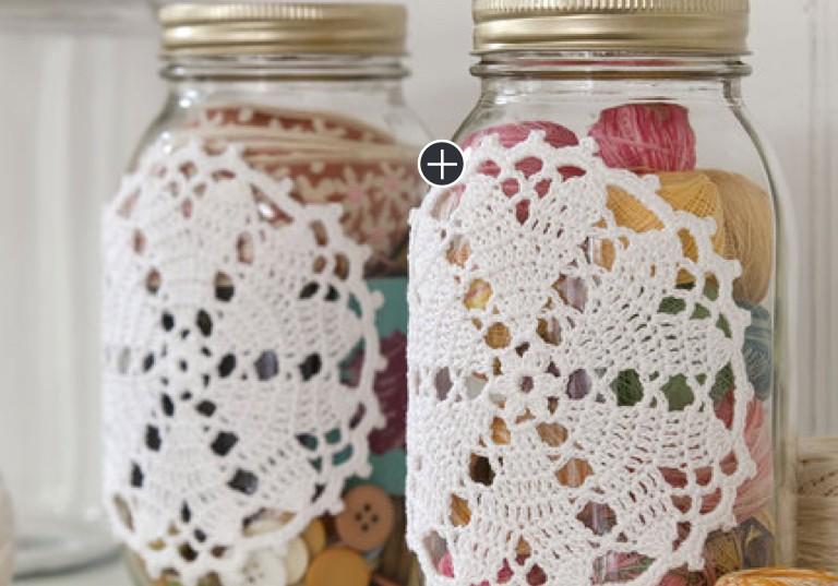 Easy Crochet Hearts Desire Doily-ed Jars