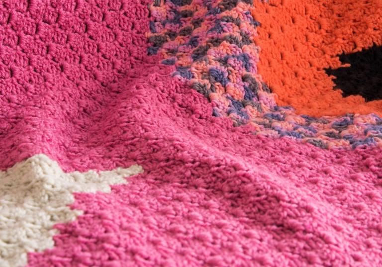 Intermediate Caron c2c pop art flowers crochet blanket