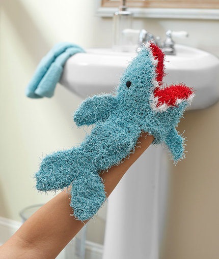Shark Puppet Scrubby Free Crochet Pattern LW5411
