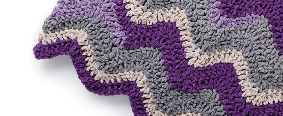Chevron Crochet Blanket in Bernat Blanket Stripes, Eggplant