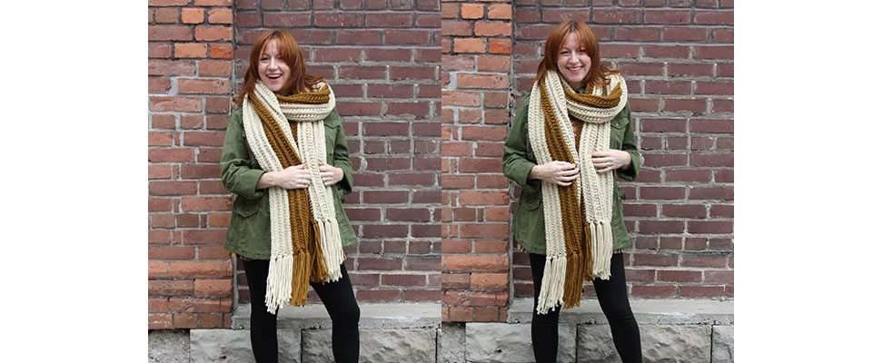 Highline Crochet Super Scarf in Bernat Softee Chunky yarn