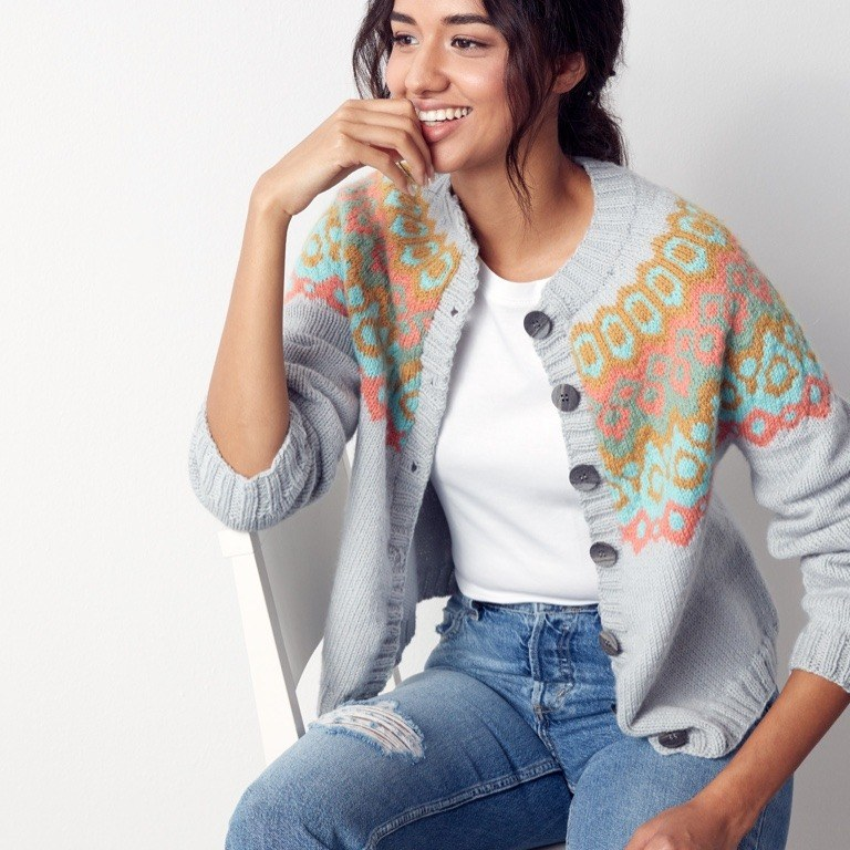 Intermediate Stranded and Steeked Knit Cardigan