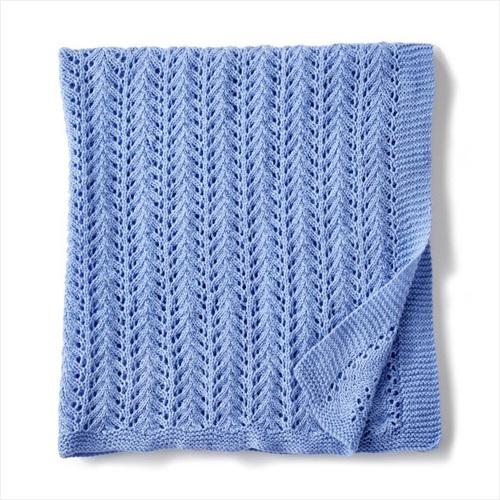 Free Knit Pattern - Lacy Knit Baby Blanket in Bernat Baby Sport