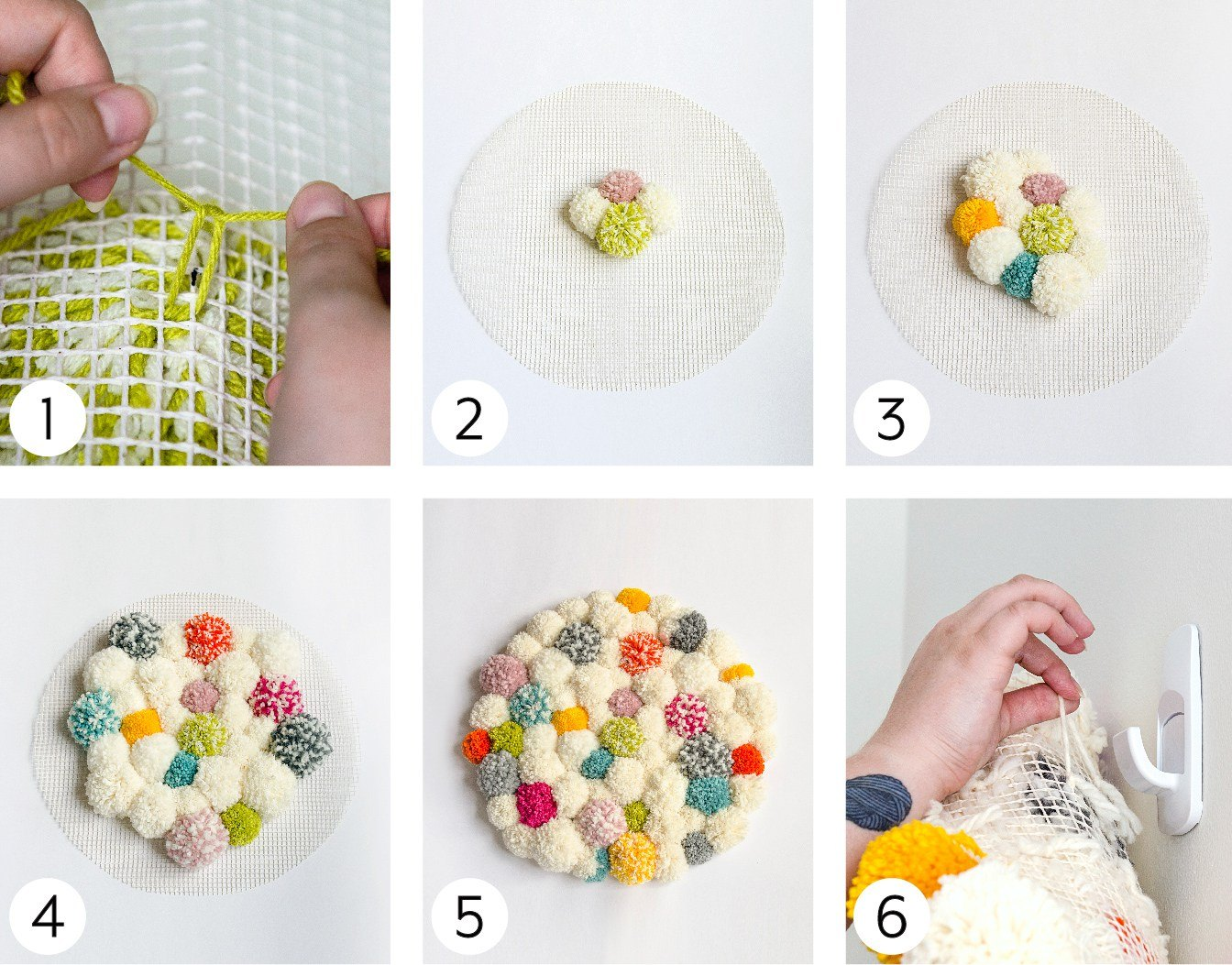 Finishing your Pompom Wall Hanging Steps 1 - 6 Images
