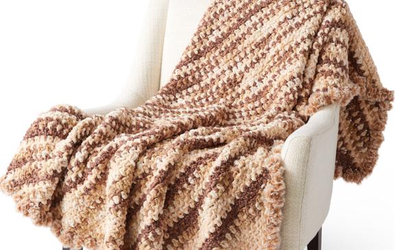 Bernat Fur Trimmed C2C crochet Blanket