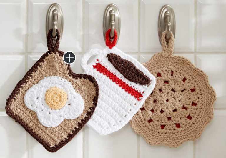 Easy Crochet Pot Holder Diner Trio