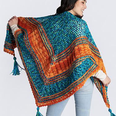 Caron textured triangular crochet shawl